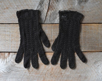 Vintage Gloves, Summer Gloves, Crochet Gloves, Dark Brown Summer Gloves, Vintage Gloves, Women's Vintage Fashion, Wedding Gloves