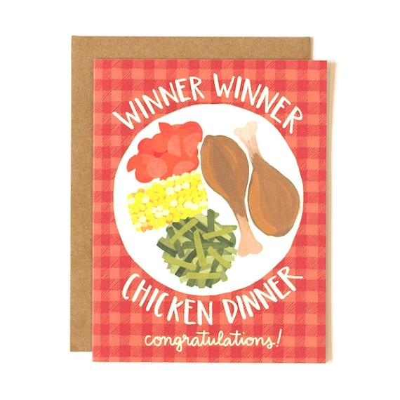 Winner Winner Chicken Dinner Congratulations Illustrated Card