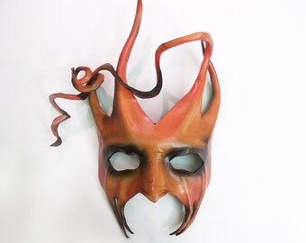 Devilish Jester or Tree Leather Mask with Spirals and Horns red orange brown black