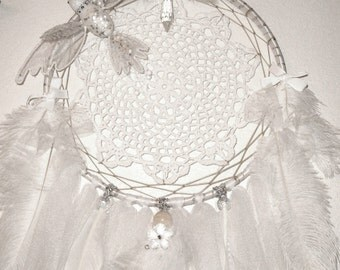 Dream Catcher, White, Doily, Ostrich Feather, Crystals, Bird, Rabbit Fur, Ribbon, Wall Decor, Tulle, Bridal, Protective, OOAK