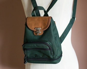 90s Vintage Grunge Revival Hunter Green Mini Backpack BTS