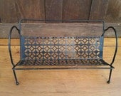 Vintage Metal Wire Black Mid Century Rack