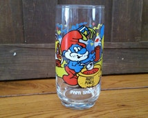 Vintage Smurfs Papa Smurf Love Collectors Glass 1983 Party Punch