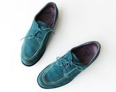 1990's Anna Sui Teal Blue Suede Oxfords