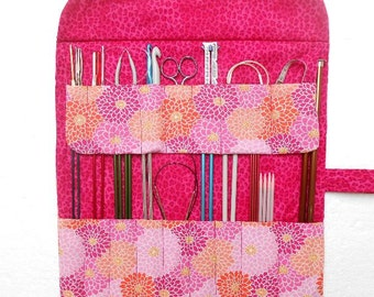 Pink Crochet Hook Case, Floral Knitting Needle Roll, Double Pointed Needle DPN Storage Organizer, Artist or Makeup Brushes Case, Pencil Roll