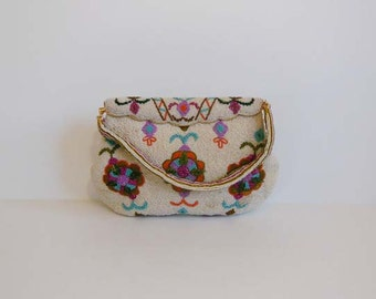 1960s purse / Colorful Vintage 60's Beaded Bag Purse