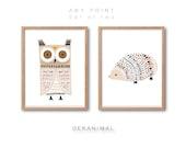 Owl Hedgehog Print Set, Any 2 prints, Animal Print, Kids room decor, Nursery decor, Watercolor Art