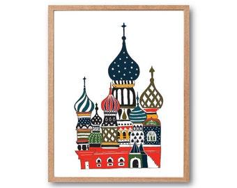 Onion Palace Art Print - Palace illustration, Travel Art Print, Hand Drawn Art, Home decor, wall decor, Children's book Art, Kids room decor