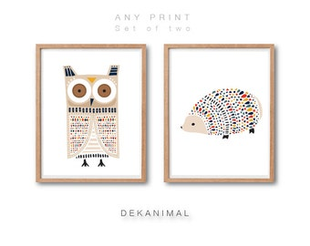 Owl Art Print, Hedgehog Art Print, Animal Art Print, Woodland Animal Art, Kids room decor, Animal Nursery decor, Print Set of 2