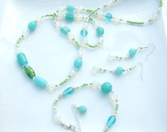 3 pc GEMSTONE SET - Opalite White Beads, Seafoam Blue and Lime Necklace, Earrings and Bracelet