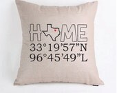 Latitude Longitude Home State Personalized Pillow Case Pillow Cover