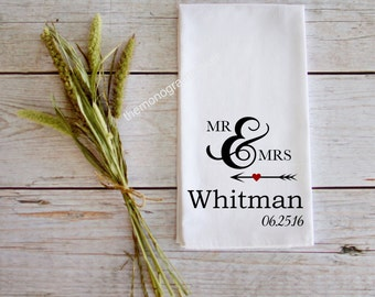 Personalized Tea Towel Wedding Gift Customizable