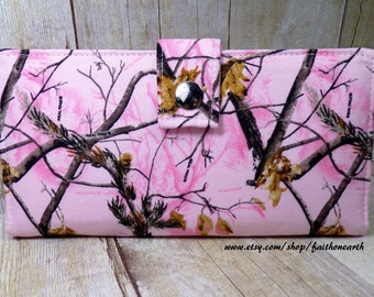 Real Tree in pink Handmade vegan Long Wallet  BiFold Clutch - Real Tree pink camo or half size unisex wallet