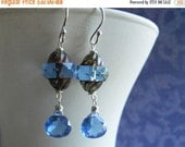 40% OFF SALE, Tanzanite twist Czech Glass and Quartz Earrings, Sterling, Gold or rose Gold