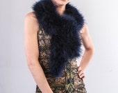 Promo Sale Navy Blue Marabou Wrap - Collar - Shrug