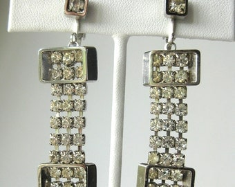 Vintage Modernist Rhinestone Cascade Drop Earrings / Claw-set / Clip Back