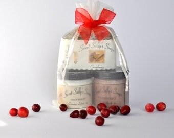Cranberry Seasonal Scents Gift Set, Organic Cranberry Soap, Sugar Scrub, Creamy Lotion