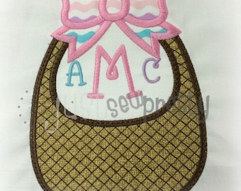 Pretty Basket with Bow Embroidery Applique Design