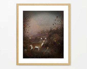 Deer art, archival print, woodland animals, fantasy art, fairytale art, wall art, home decor, homewares, deer painting, robin art.