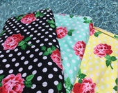 1FQ / 1/2 Yard / 1 Yard ~ Retro Florals Lucy Sunny + Aqua + Black, Retro Florals Collection by Michael Miller, Premium Cotton Fabric