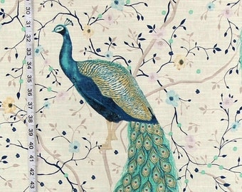 Blue peacock fabric Indian garden bird flower interior home decorating material 50""