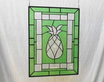 Beveled Pineapple Stained Glass Panel, Unique Window Treatment, Glass Yard Art, Garden Flag, Hospitality Welcome, Handmade Housewarming Gift