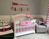 """Hamptons Whale 58"""" 9PEG Paddle Rack Pink Nautical Nursery 9"""" Baby Name Letters / Hot Pink Washed Distressed White Stripes / Canoe Paddle"""