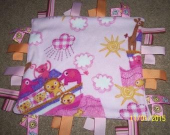 Homemade Noah's Ark, on pink, ribbon blanket
