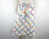 Vintage 1970s White & Primary Colors Wrap Around Skirt