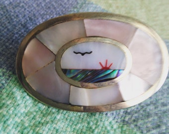 Mexican Sterling Silver / Mother of Pearl / Abalone Belt Buckle