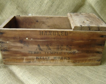 Vintage Advertising Wooden Box Crate Axes Bits Man Cave Rustic Wedding Decor