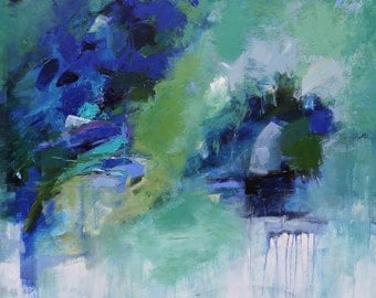 """ABSTRACT PAINTING """"Surge"""" Acrylic on 40"""" x 40"""" canvas  Original MODERN Art Direct from the Studio by Elizabeth Chapman"""