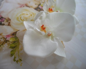 White Orchid Large Statement Hair Clip Pair For Any Occasion Wedding Sash Clutch Clip Corsage Pin Any Occasion Ready To Ship Handcraftusa