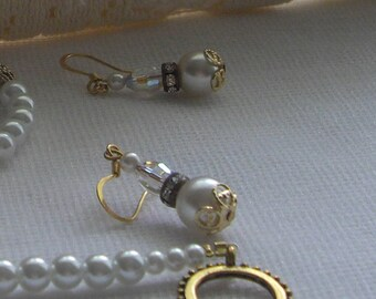 Wedding Jewelry 14 k gold Ear Wires Vintage Assemblage Earrings Handmade With Vintage Crystals Designed by handcraftusa