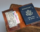 Faded Lightly Distressed Leather passport cover with pocket for cash and cards