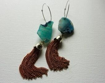 Tassel Earrings. Agate Slice Crystal and Vintage Tassel Statement Jewelry