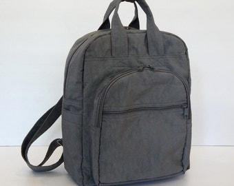 Sale - Grey Water Resistant Nylon Backpack - School bag, Diaper bag, Backpack, Travel Bag - YOGO