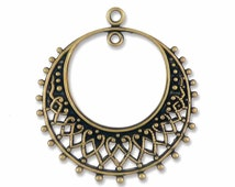 Brass Filigree Earring Hoop Pendant Brass Ox {4pcs} F671BOX