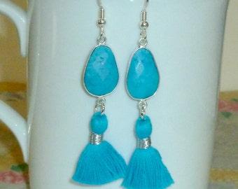 Turquoise Tassel Earrings, Turquoise Gemstone Tassel Earrings, Tassel Earrings, Tassel Jewelry, Turquoise Earrings