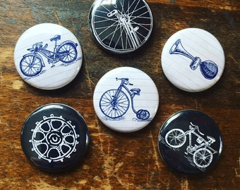 Bikes and Things Buttons set of 6