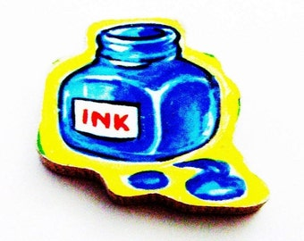 Ink Bottle Brooch - Pin / Blue Bottle Brooch / Upcycled 1960s Wood Puzzle Piece / Red, White, Yellow, Blue Wood Brooch / Gift Under 20