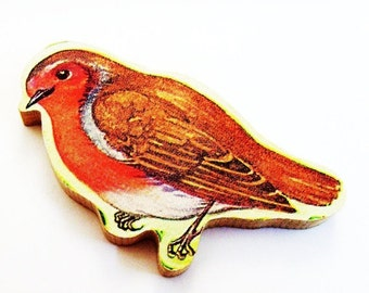 Robin Brooch - Pin / Upcycled 1960s Hand Cut Wood Puzzle Pieces / Orange - Brown Wood Robin Brooch & Name Pin / Unique Gift Under 50