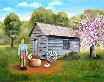 Folk Art Prints, Landscape Print, Blacksmith, Pink Tree, Apple Blossom, Peach Blossom, Spring, Anvil, Old Wood Plank Building, Arie Taylor