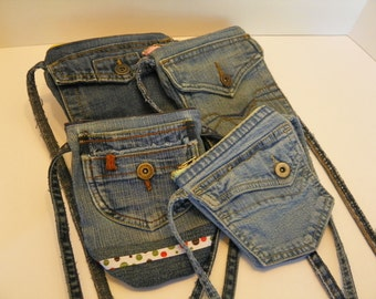 3 Pocket Zippered Crossbody Denim Purse