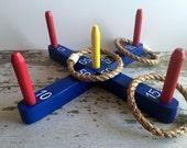 Spielzeug-Ring werfen Spiel mit blauen Basis - handgefertigt aus Holz Spielzeug Ring Toss Spiel mit blauen Basis - Urlaub - Keller - Park - Strand - Tasche