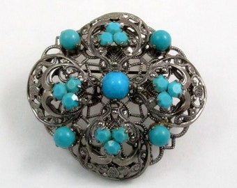 Vintage Western Germany Silver Tone Filigree Brooch with Turquoise Glass Stones 70s Brooch
