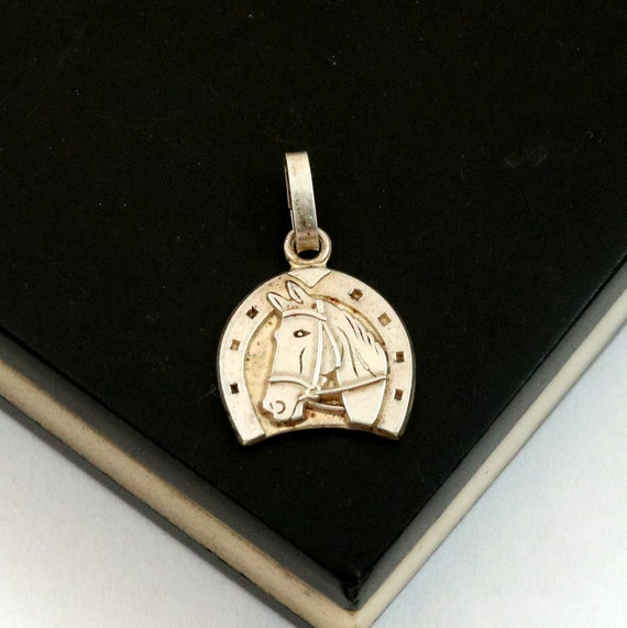 Vintage Horseshoe Horse Charm Pendant, 800 Silver