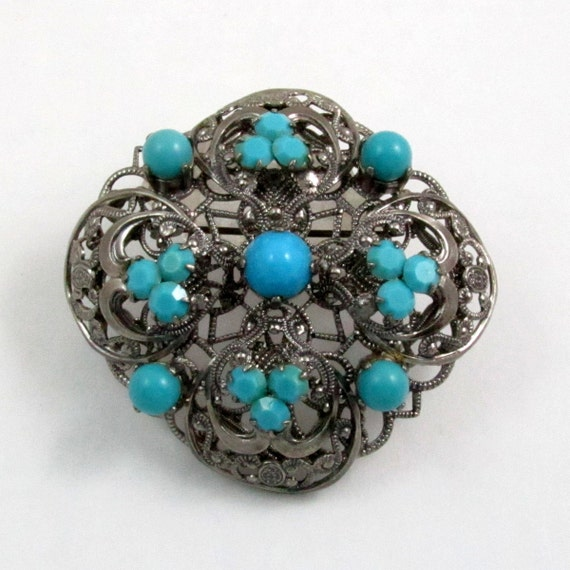 Vintage Western Germany Turquoise Glass Filigree Brooch