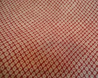 Vintage kimono S141, silk, komon, rust orange