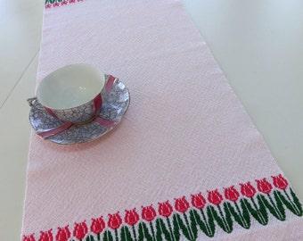 Handwoven Table Runner - Dresser Scarf - Tulip Table Runner - Easter Table Runner - Pink Spring Table Runner